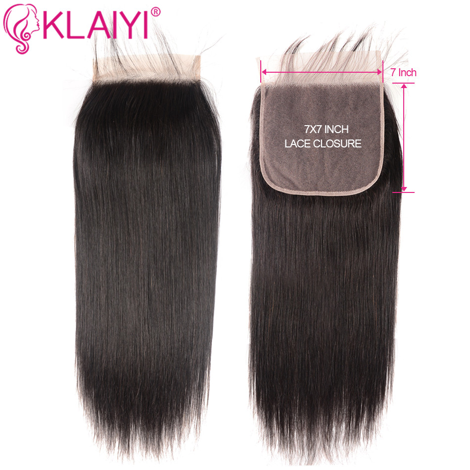 KLAIYI Human Hair Closure 7*7 Straight Closure 10-18inch Lace Closure Brazilian Remy Hair Swiss Lace Closure Natural Color