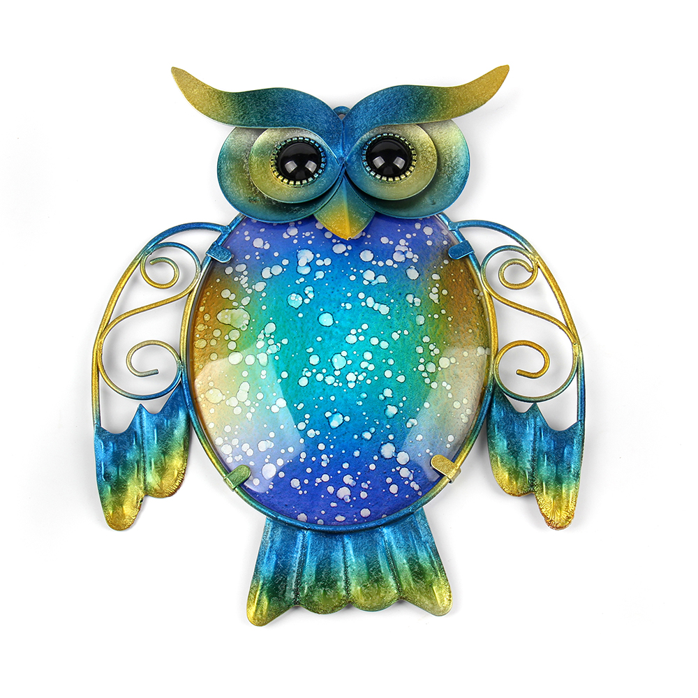 Garden Metal Owl Wall Artwork With Blue Painting Glass For Garden Decoration Outdoor Animal Statues And Scuptures For Yard