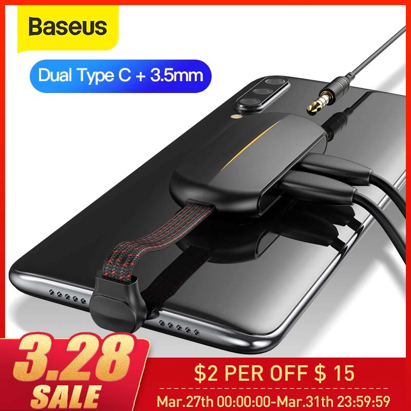 Baseus OTG Adapter Type C Fast Charging USB Type C Aux Cable 3 In 1 Dual Port Forhuawei For Samsung USB C OTG Adapter Aux Cable
