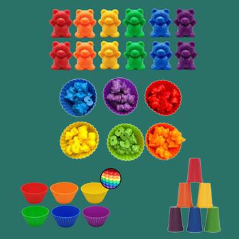 Dzieci Montessori zabawka 1 zestaw Boxed liczenie niedźwiedź Montessori edukacyjne poznanie Rainbow dopasowanie gry zabawki edukacyjne prezenty tanie i dobre opinie OCDAY Żywica CN (pochodzenie) Resin Craft 3 lat Unisex NONE