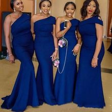 Africa Navy Blue Mermaid Bridesmaids Dresses One Shoulder Sleeves Maid of honor Wedding Guest Party Gowns Long Plus Size(China)