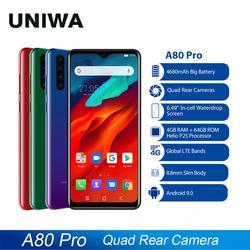 Blackview 4G мобильный телефон A80 Pro Quad задняя камера смартфон Octa Core 4 Гб + 64 ГБ Android 9,0 6,49 дюймов 4680 мАч глобальная версия