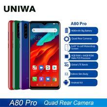 Blackview 4G נייד טלפון A80 פרו Quad אחורי מצלמה Smartphone אוקטה Core 4GB + 64GB אנדרואיד 9.0 6.49 אינץ 4680mAh הגלובלי גרסה