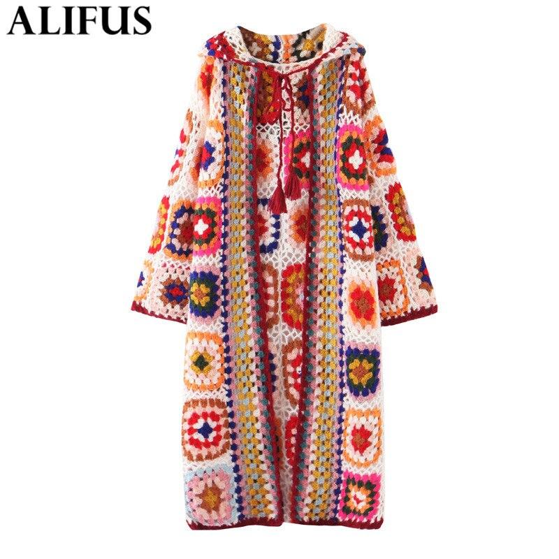 Fashion Za 2019 Winter Knitting Cardiagn Women Vinatge Long Sleeve Indie Folk Style Jacquard Loose Long Women's Coat