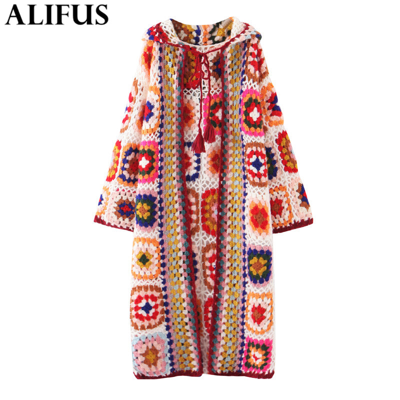 Fashion Za Women 2020 Winter Knitting Cardiagn Vinatge Long Sleeve Indie Folk Style Jacquard Loose Long Women's Coat