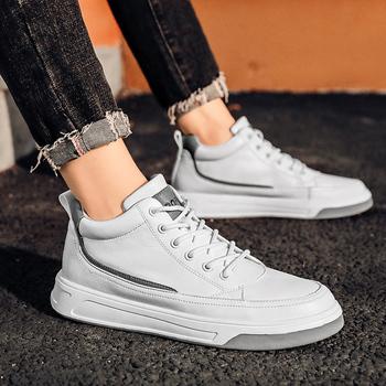Męskie buty modne skórzane męskie buty na co dzień lekkie oddychające buty do chodzenia płaskie tenisowe czarno-białe trampki buty męskie tanie i dobre opinie fuhaobang CN (pochodzenie) Skóra Split RUBBER 885765 Lace-up Pasuje prawda na wymiar weź swój normalny rozmiar Oksfordzie