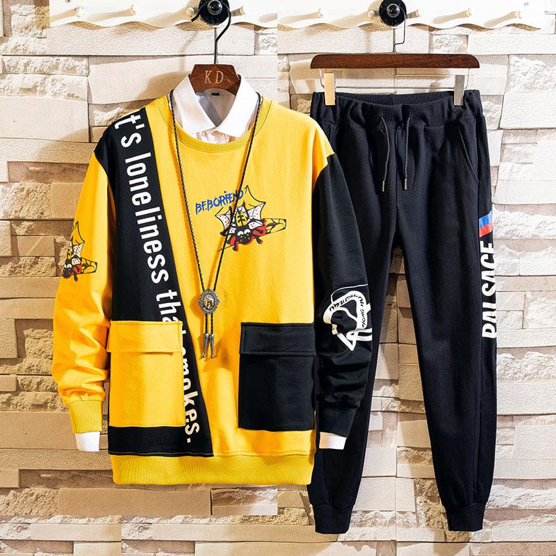 Patchwork Men's Sportswear Sets 2020 Autumn Spring Hoodies Male Casual Tracksuit Sweatshirt + Sweatpants Track Suit