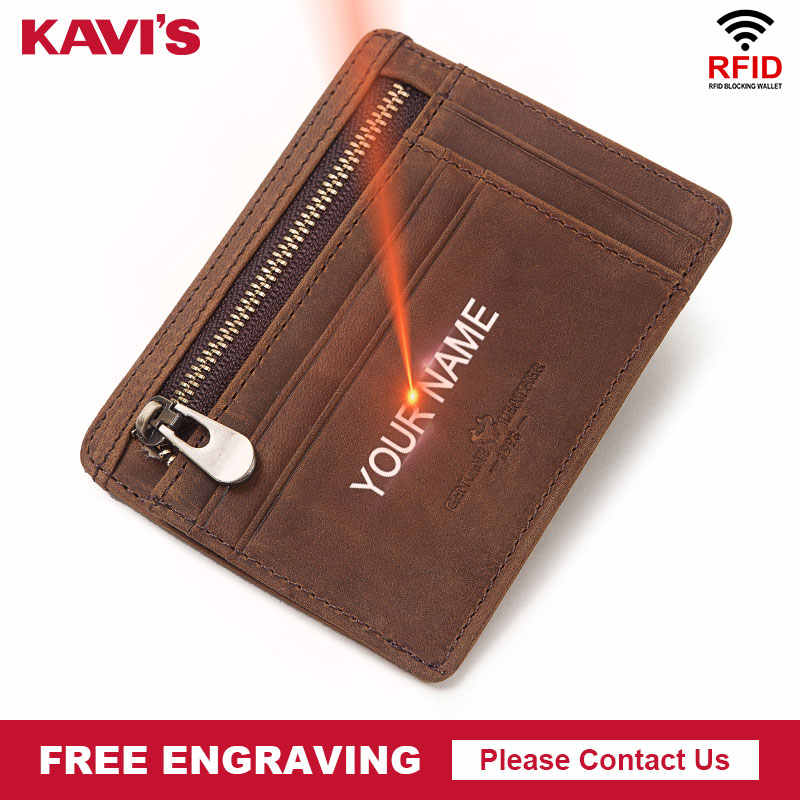 KAVIS Name Free Engraving Genuine Leather Mini Card Holder Multifunctional Men ID Card Wallet Case Coin Purse Thin Diy Gift