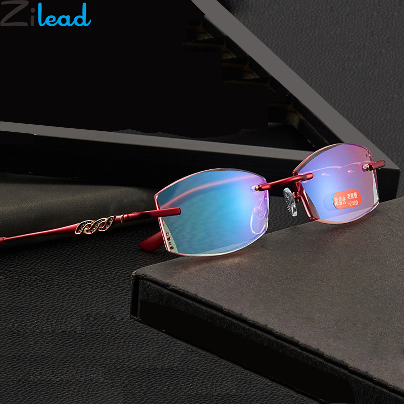 Zilead Lady Crystal Anti Blue Light Fnished Myopia Glasses Frameless  Nearsighted Glasses Short-sight Glasses With -1.0to-4.0