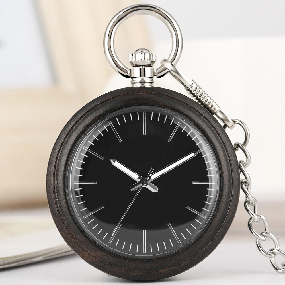 Large Dial Quartz Pocket Watch Men Excellent Black Alloy Rough Chain Wooden Pendant Watch Necklace Gift Reloj De Bolsillo Mujer