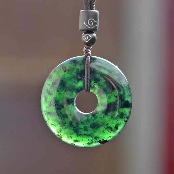 Natural Black Green Hetian Stone Doughnut Carved Jade Pendant Necklace Chinese Jadeite Jewelry Charm Amulet Gifts For Women Men