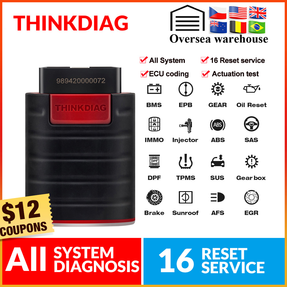 Thinkcar ThinkDiag Obd2 Scanner All System Diagnostic Tool ECU Coding 16 Reset Service Actuation Test Pk X431 Easydiag 3.0 AP200