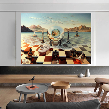 Salvador Dali Abstract Weird Canvas Painting Surrealism Chess Mask On Sea Poster Print Wall Art for Living Room Wall Decoration 1