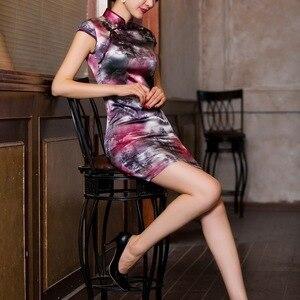 Image 4 - 2019 sprzedaż bezpośrednia ulepszona sukienka w stylu Qipao To powrót do przeszłości pielęgnować Temperament torba Hip kołnierz Xiejin jedwabiu krótkim rękawem