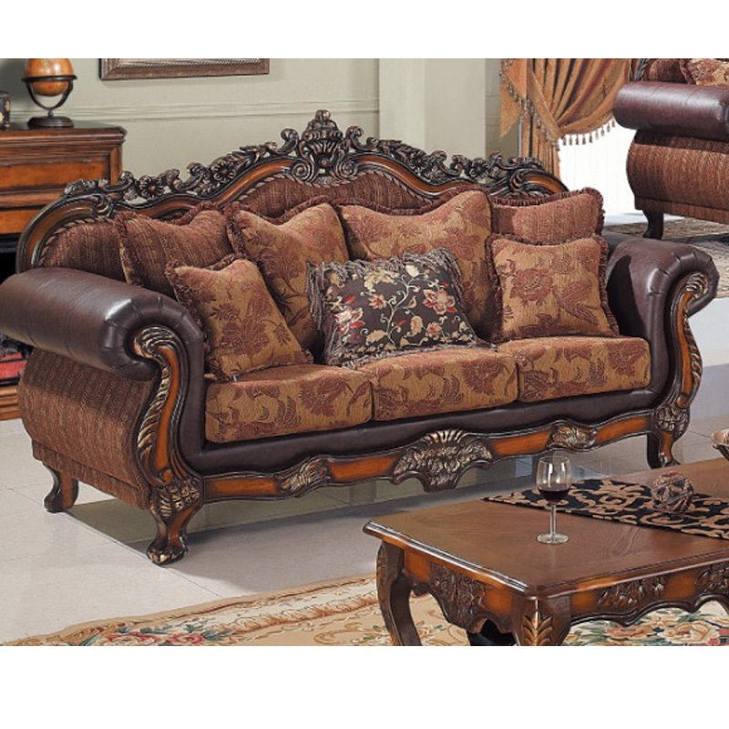 Wooden home furniture royal luxury living room wood leather and fabric sofa WA718