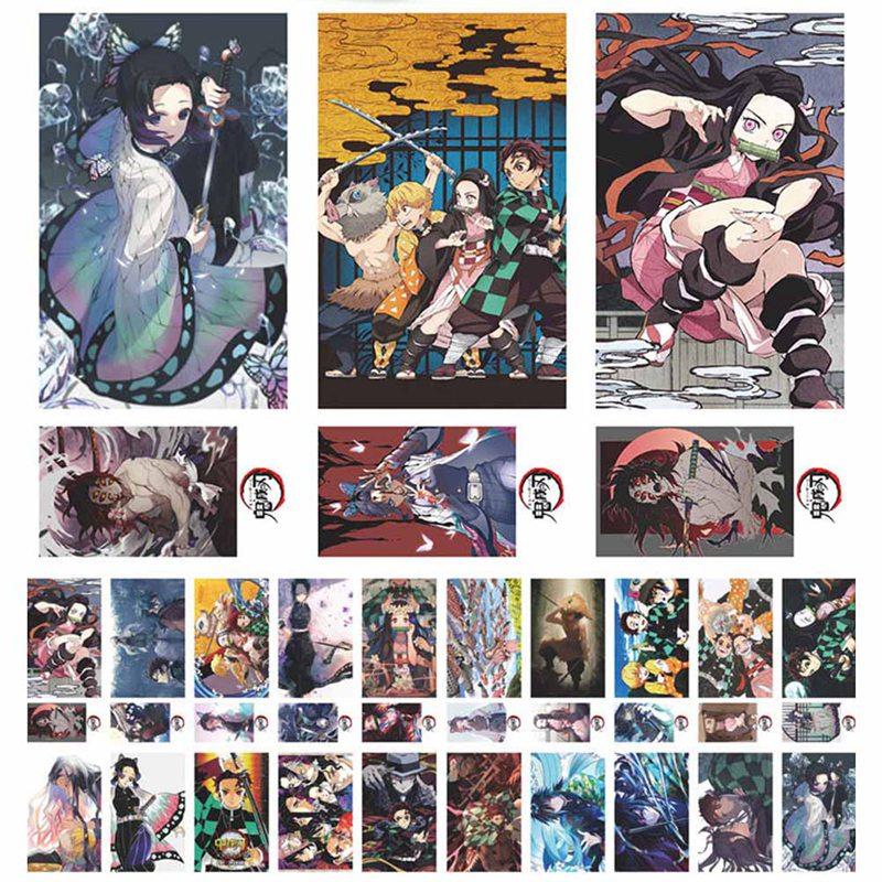 180Pcs Anime Demon Slayer Kimetsu No Yaiba Kamado Tanjirou Kamado Nezuko Postcard Greeting Card Message Card Toys Xmas Gift