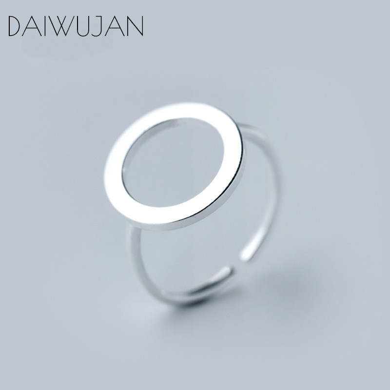 DAIWUJAN Real 925 Sterling Silver Hollow Round Adjustable Open Rings Minimalist Jewelry For Women Girl Party Accessories