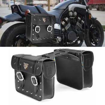 New 2X Motorcycle Universal PU leather Box Hanging Side Bag Saddlebags Suitcase Rider For Honda For KTM Accessories Metal Buckle