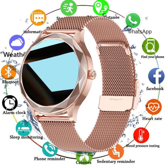 Relógio inteligente feminino adorável pulseira sono freqüência cardíaca monitor de pressão arterial smartwatch senhoras presente relógios masculino para android ios 6