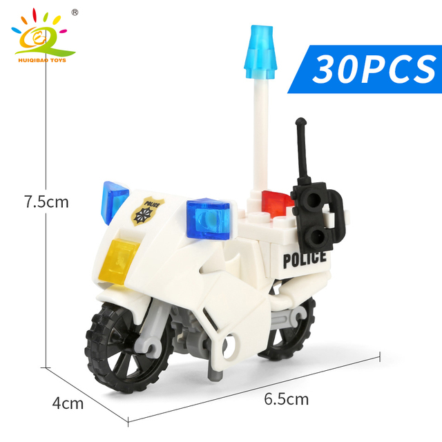 HUIQIBAO City Police Patrol Motorcycle Building Blocks Sets City street bike policeman model Bricks Educational Toy for Children