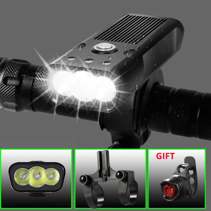 Built-In 5200mAh Bicycle FlashLight L2 T6 USB Rechargeable Power Bank 20000Lm 3Modes Bike Light Waterproof light With Gift
