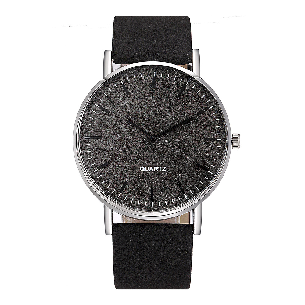 New Style Classic Simple Matte Letter Decoration Unisex Leather Belt Watch Casual Student Watch Non-Logo Watch
