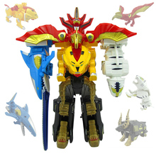 5 In1 Action Figures Children Christmas Gifts Toys Dinozords Assemble Transformation Robot Dinosaur Rangers Megazords 35cm