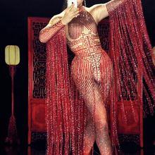 Bright Red Crystals Long Tassel Jumpsuit Female Singer Rhinestone Stage Performa