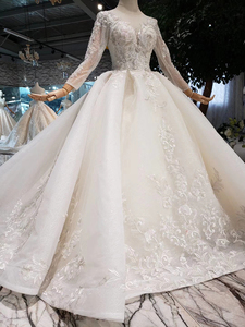 Image 3 - BGW HT569 Ball Gown Wedding Dresses Organza Illusion O neck Long Tulle Sleeves Corset Wedding Gown With Long Train 2020 Fashion