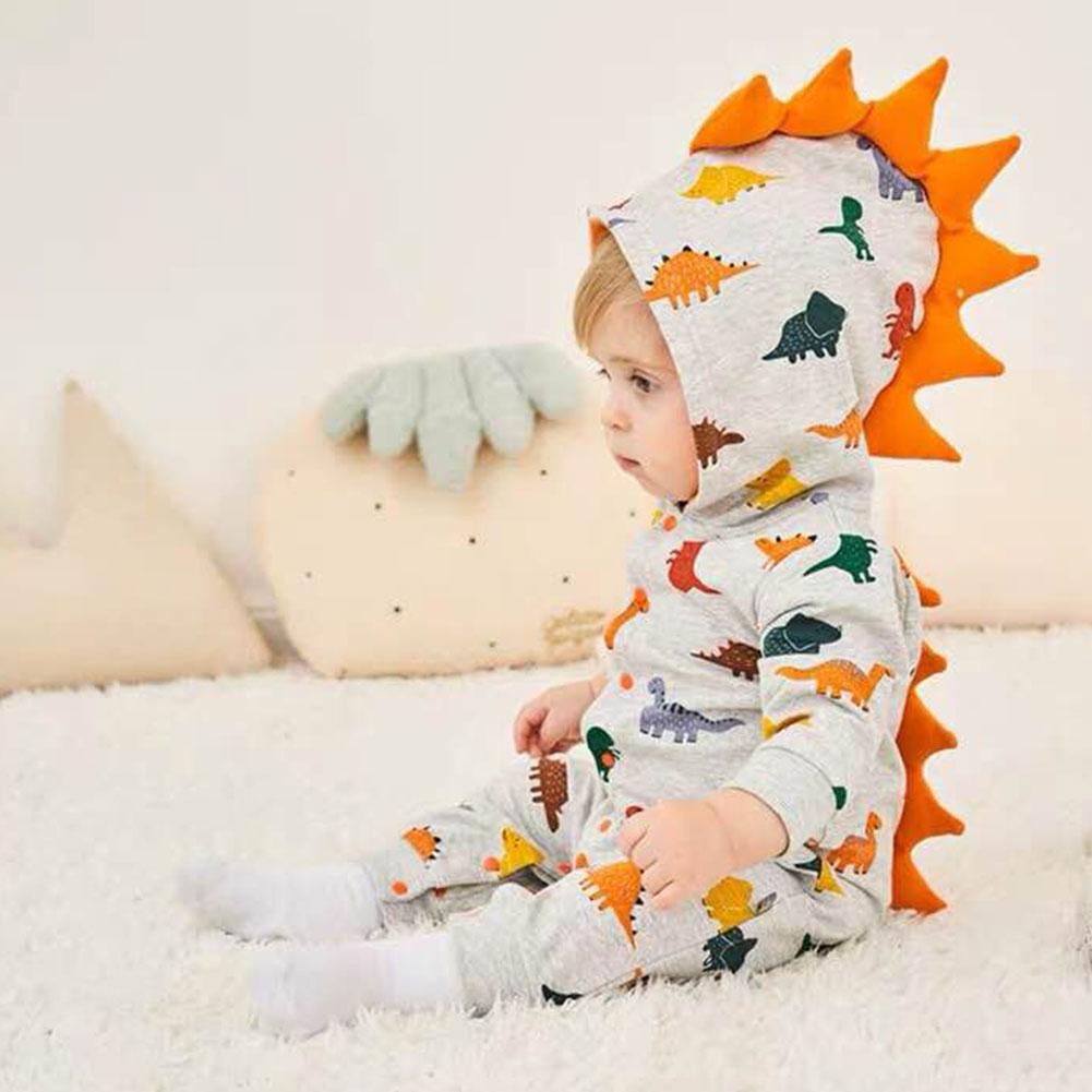 3D Cartoon Unisex Baby Autumn Winter Shark Dinosaur Hooded Romper Bodysuit Button Hoodies Shark Fin Clothes Costume