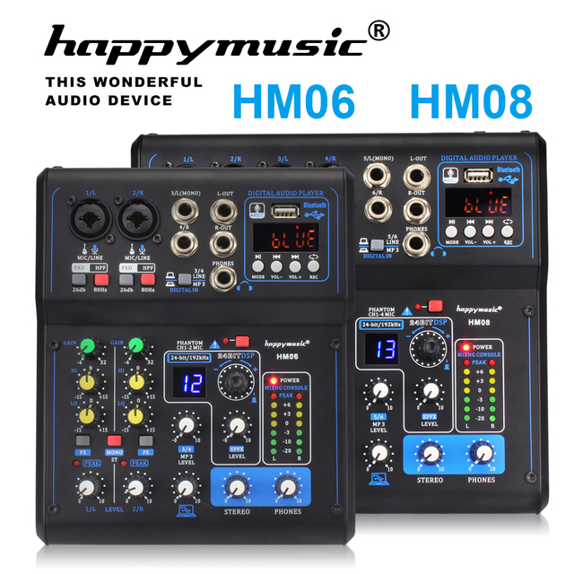 Professionelle Mixer HM Serie 6 Kanäle 8 Kanäle USB Soundkarte 16 DSP Sound Konsole Ausrüstung DJ Mixer USB Sound karte
