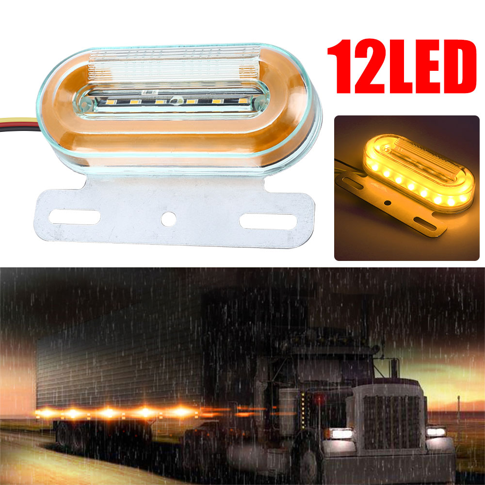 DC24V 12 LED Side Marker Lights Car External Lights Warning Tail Light Auto Trailer Truck Lorry Lamps Amber Color