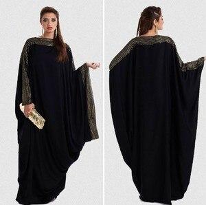 Muslim Moroccan Kaftan Abaya Hijab Dress Women Batwing Sleeve Ramadan Islamic Clohing Djellaba Jilbab Loose Robe Musulman Ropa