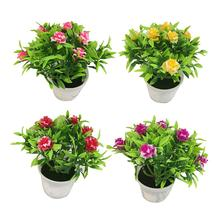 1Pc Potted Artificial Flower Rose Stage Garden Wedding Home Party Decor Props Vivid Color Beautiful Non-fading