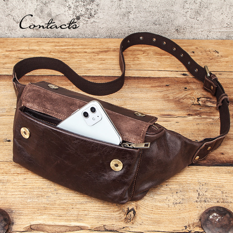 CONTACT'S Travel Waist Packs Men Genuine Leather Waist Bags Fanny Pack For Male Casual Belt Bag Passport Cover With Phone Pocket