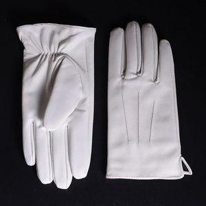 Image 2 - الرجال جلد طبيعي جلد حقيقي الشتاء الدافئة الأبيض قصيرة قفازات