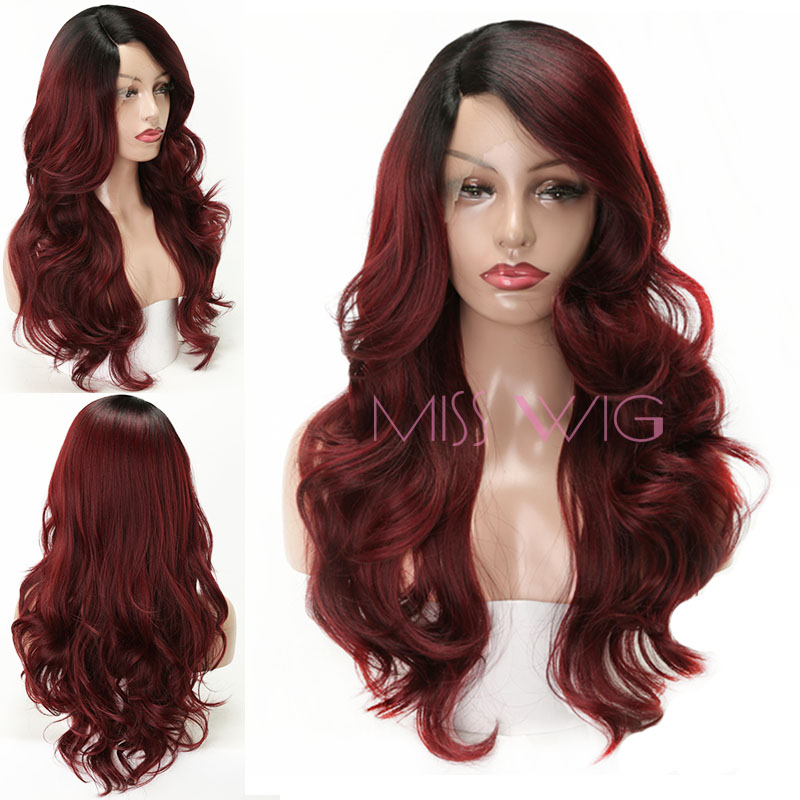MISS WIG lace frontal wig  Synthetic Red Wig 26inch Long Wavy For Women Heat Resistant Lace Handmade Wearing More Natural