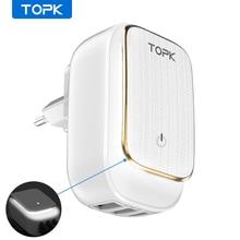 TOPK 17 واط 3 Port USB شاحن الهاتف محول LED مصباح السيارات ID المحمولة السفر الجدار شاحن ل شاومي mi نوت 10 برو سامسونج s10