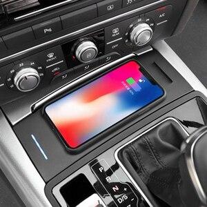 Image 3 - 10W araba QI kablosuz şarj için Audi A6 C7 RS6 A7 2012 2013 2014 2015 2016 2017 2018 şarj plaka kablosuz telefon tutucu