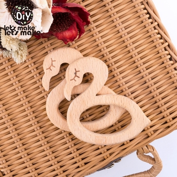 Let's Make 50Pcs Baby Wooden Teether Swan Beech Wood Beauty Swan Bpa Free For Baby Teether Toy