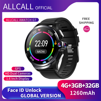 Allcall Awatch GT 4G 3GB 32GB Smart Watch Face ID 1.6 Inch Dual Camera Men Sport Waterproof 1260mAh GPS Android Smartwatch Phone