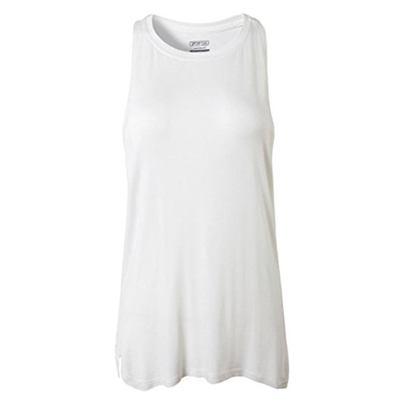 Jeansian femmes Séchage Rapide Coupe Slim Réservoir hauts Réservoir hauts Sans Manches Gilet Singulet SWT239 Blanc