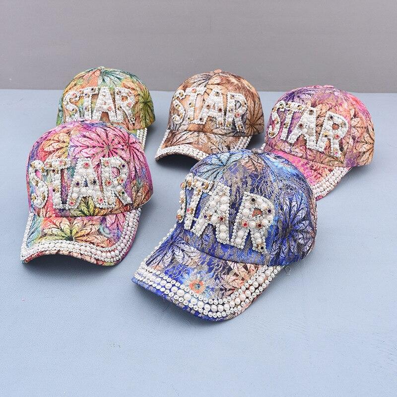 New Spring Summer Woman Girl Sunhat Rhinestone Pearl Baseball Hat Colorful Snapback Cap Cool Star Hat