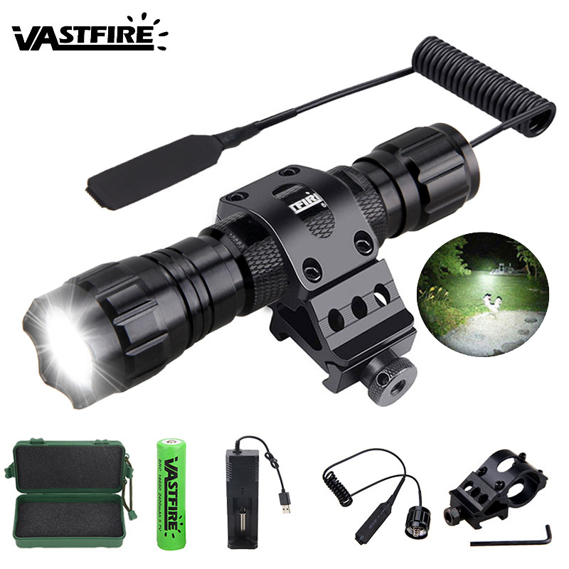 Q5 T6 5000lm XM-L Led White Tactical Hunting Flashlight Weapon Gun Light  Rifle Scope Airsoft Mount Switch 18650 USB Charger Box
