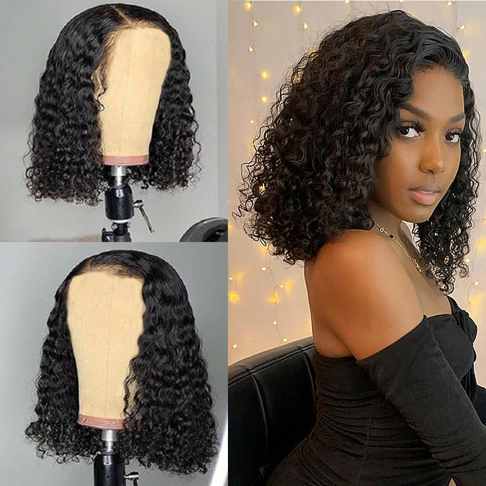 Short Curly Hair Wig 100%  Wigs  8-20 Inch Bob Wig 180% Density  Full Machine Made Wigs 1