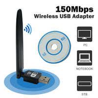 Adaptador usb wifi ethernet lan 150 inalámbrico 802.11n ordenador portátil de escritorio dongle tarjeta antena adaptador 2,4g 5g receptor wifi mini