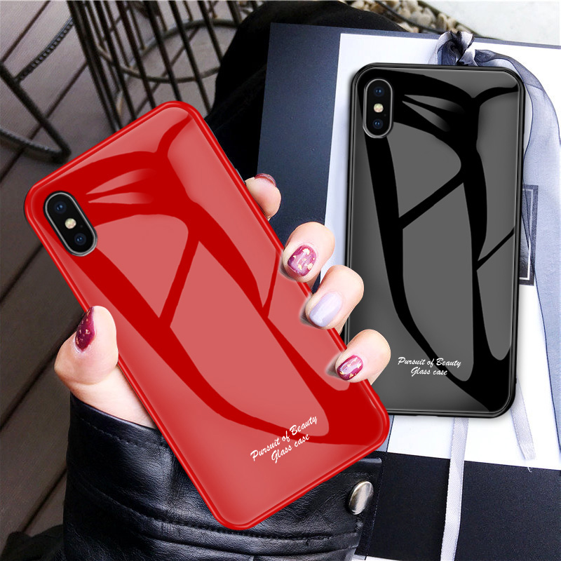 Shockproof Tempered Glass Case for iPhone XR XS MAX 6s 7 8 Plus 7plus 8Plus Coque Soft Silicone Phone Cover for iPhone Case marvel glass iphone case