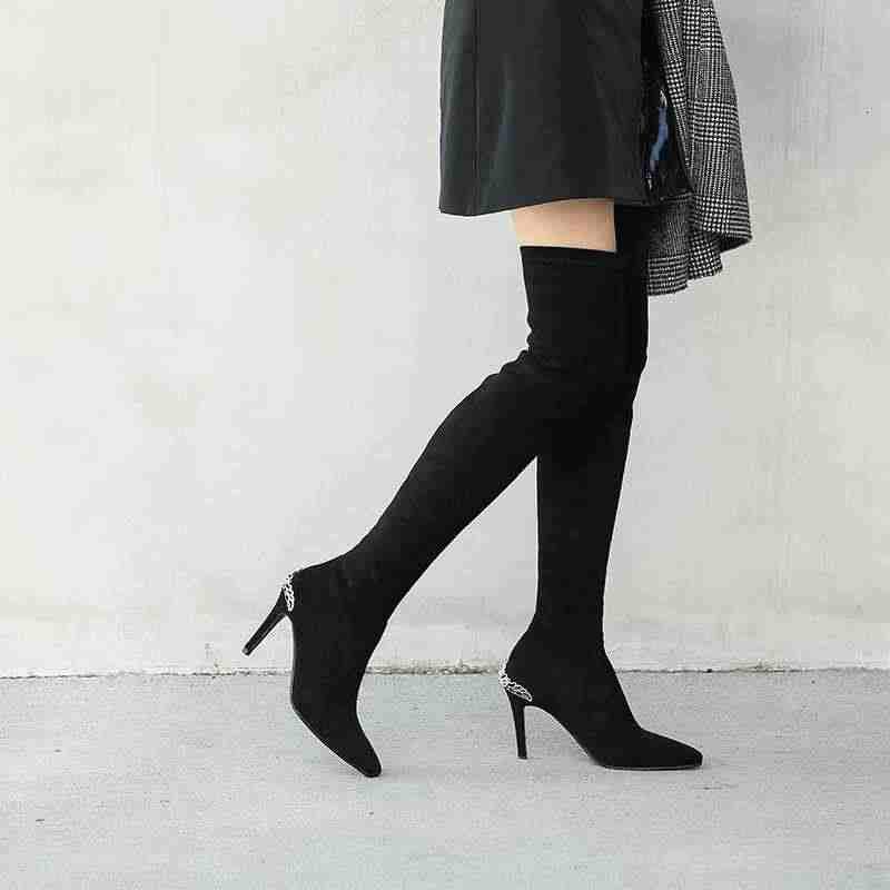 Krazing Pot güzellik bayan sivri burun süper yüksek topuklu streç akın çizmeler katı stiletto moda bayan sıcak uyluk yüksek çizmeler l9f9