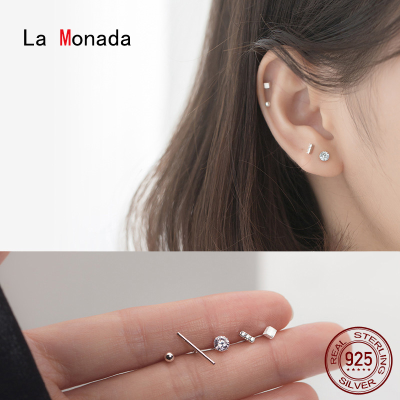 La Monada Stud Earrings For Women Silver 925 Minimalist One Set Fine Women Earrings In Jewelry Stud Earrings 925 Sterling Silver