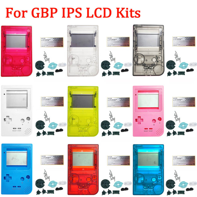 IPS Customized Shell with buttons for GBP Brightness IPS LCD Screen Kits with glass lens housing shell sets for GameBoy Pocket